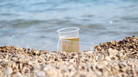 BEER AND BEACH Stock Photos