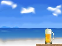 Beer on the beach vector Royalty Free Stock Photos