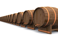 Beer beer beer. A row of beer barrels on white background stock illustration