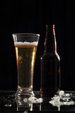 Beer with beer bottle on ice. Beer glass and bottle on ice black background Stock Image