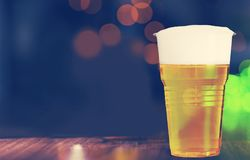 Beer. Cup plastic closeup cold disposable liquid Royalty Free Stock Photo