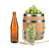 Beer with beer glass and hop Stock Photography