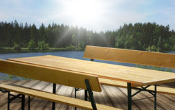 Beer bench set table and bench with backrest Royalty Free Stock Photos