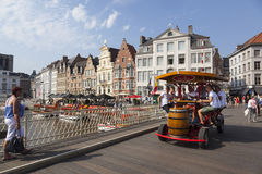 Beer bike on grasbrug in centre of medieval Ghent in Belgium Royalty Free Stock Photos