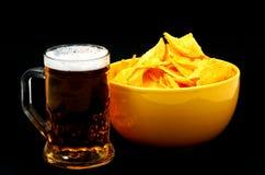 Beer on black. Calorie menu royalty free stock images