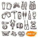 Beer black doodle icons set. Beer black pictograms set with oak barrel hop malted barley grain and snacks doodle  vector illustration Royalty Free Stock Photos