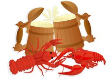 Beer with boiled crawfish Royalty Free Stock Images