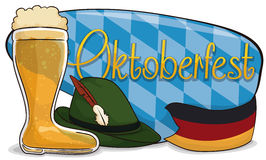 Beer Boot, Felt Hat and German Flag to Commemorate Oktoberfest, Vector Illustration. Banner with traditional elements for Oktoberfest: beer boot, felt hat with Stock Photo