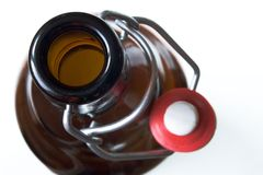 Beer bottle. Brown glass bottle with stopper opened Royalty Free Stock Photos