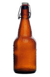 Beer bottle. With water drops, studio shot on white, with clipping path royalty free stock photo