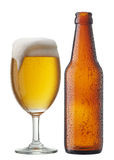 Beer with bottle Stock Images