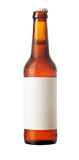 Beer bottle with blank label and condensation Stock Photos