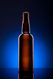 Beer bottle on blue background Royalty Free Stock Image
