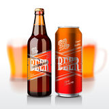 Beer bottle and can Stock Images