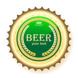 Beer, bottle cap. Illustration of bottle cap from beer, on a white background Royalty Free Stock Photo