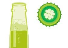 Beer bottle & Cap. Green beer bottle and cap detail Royalty Free Stock Image