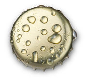 Beer bottle cap. Close up macro Isolated on white background. with clipping path Royalty Free Stock Photography