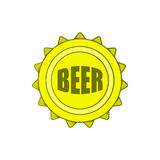 Beer bottle cap icon in cartoon style Royalty Free Stock Photography