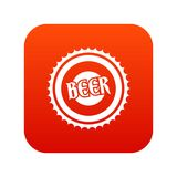 Beer bottle cap icon digital red Royalty Free Stock Photography
