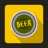 Beer bottle cap icon in flat style Stock Photo