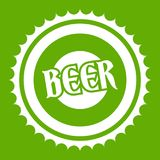 Beer bottle cap icon green Stock Images