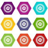 Beer bottle cap icon set color hexahedron Stock Photo