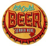 Beer Bottle Cap Tin Sign Iced Cold. Beer Bottle Cap Embossed Tin Sign Served Here Retro Vintage Ice Cold Bar Tavern Lounge Royalty Free Stock Images
