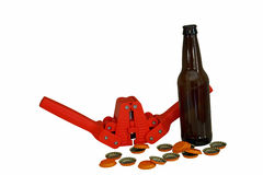 Beer Bottle, Caps, and Capper Stock Images