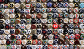 Beer bottle caps collection. Beer sales in China rose 29 percent between 2006 and 2011 to 50 billion liters, more than double the consumption in the US, the Royalty Free Stock Image