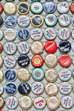 Beer bottle caps collection, Shanghai, China royalty free stock photo