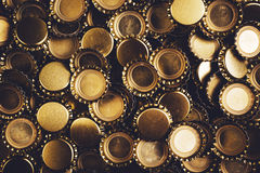 Beer bottle caps heap as background Stock Photos