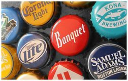 Beer Bottle Caps Royalty Free Stock Photography