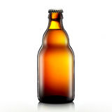 Beer bottle or cider isolated on white background. Bottle of beer or cider with clipping path isolated on white background Royalty Free Stock Image