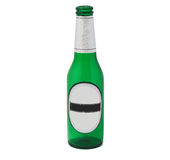 Beer bottle with clipping path. An empty beer bottle isolated on a white background with a blank label and clipping path. Add your own text to the label Stock Image