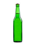 Beer bottle close-up isolated on a white Stock Photos