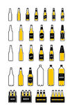 Beer bottle colored icon set Stock Photo