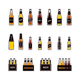 Beer bottle colored icon set Stock Images