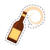 Beer bottle drink pour dot line Stock Photography