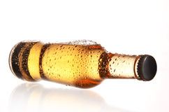 Beer bottle with drops Stock Images