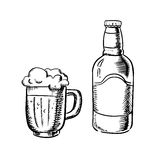 Beer bottle and filled tankard. Beer bottle  and filled tankard with overflowing froth head, outline sketch style Stock Photos
