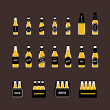 Beer bottle flat colored icon set Royalty Free Stock Image