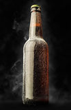 Beer bottle in the frost with steam Stock Images