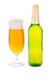 Beer bottle and full beer glass. Stock Photos