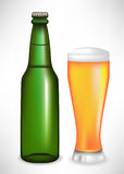 Beer bottle and glass Stock Photography