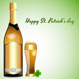 Beer Bottle with Glass of Beer. Abstract Vector Illustration of Beer Bottle with Glass of Beer Royalty Free Stock Photo