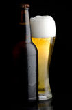 Beer bottle and glass of beer. Beer bottle and glass of cold beer on black background Stock Images
