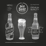 Beer in bottle and glass. Royalty Free Stock Image
