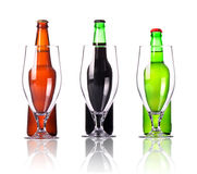 Beer bottle and glass collection  Stock Photography