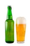 Beer, Bottle, Glass, Isolated. Stock Photo
