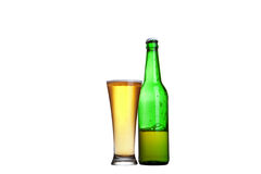 Beer in bottle and glass isolated on white. Background Royalty Free Stock Photography